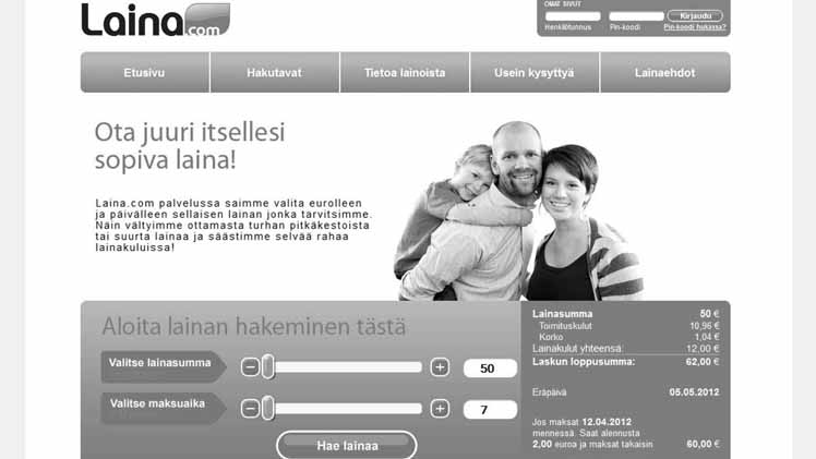 laina-laskuri sisältää 2018 luottotiedottomalle pikalaina sivuston käyttö